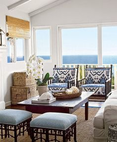 LOVe the chairs in Quadrille fabric Outdoor Room in Quadrille Kazak Blue Suncloth on Chairs, Stools in Quadrille Java Java in New Blue on White (Coastal Living June Coastal Living Rooms, Coastal Cottage, Coastal Homes, Coastal Style, Coastal Decor, Living Room Decor, Seaside Decor, Cottage Living, Seaside Style