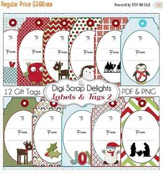 50% OFF TODAY Printable Christmas Labels & Tags  DIY You Print  8.5x11 Pdf or Digital Scrapbooking PNGs Instant Download  #scrapbooking #winter #christmas #digiscrapdelights #happyholidays #crafts