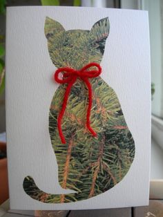 Cat Christmas Card with printed spruce by IsePaperAndCraft on Etsy