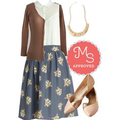 In this outfit: It Had To Be Mew Skirt, Winsome in the Willows Top, Charter School Cardigan, Fete to the Point Necklace, Advantage Wedge