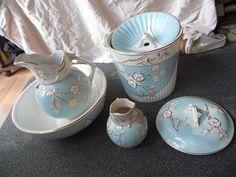 Antique Porcelain Bedroom Set Washbasin Pitcher Chamber Pot Water Pitcher | eBay