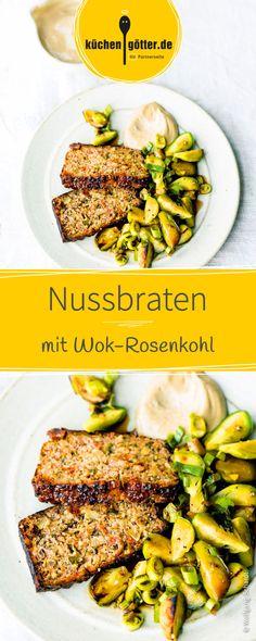 Ein leckerer vegetarischer Nussbraten wird mit köstlich gewürztem Wok-Rosenkohl angereicht.