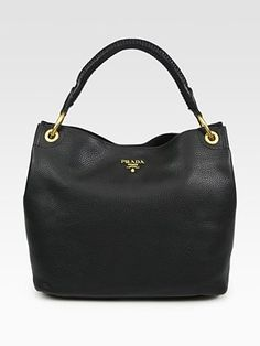 black bag - prada vitello daino hobo