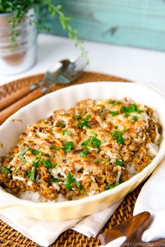 Curry Doria is Japanese rice gratin topped with flavorful curry meat sauce and cheese and baked into perfection in a casserole. It screams comfort food! #curry #doria #ricegratin | Easy Japanese Recipes at JustOneCookbook.com