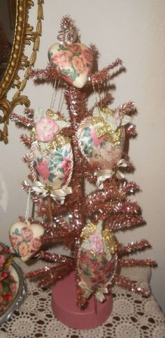 VICTORIAN VALENTINES ORNAMENTS Pink VTG Roses Shabby Chic Romantic Hearts Tree 5  | eBay