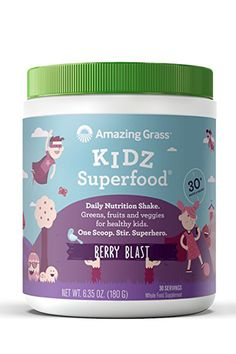 Amazing Grass Kidz Superfood: Organic Greens, Fruits, Veggies & Probiotics for Healthy Kids, Berry Blast, 30 Servings Healthy Brain, Healthy Kids, Children's Vitamins, Meal Replacement Drinks, Amazing Grass, Superfood Powder, Nutrition Shakes, Fruits And Veggies, Gourmet Recipes