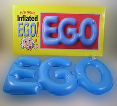 INFLATED EGO..... The perfect gag gift for that overconfident arrogant person that always seems to have an answer for everything. We know them as Know It All's! Now they can take their ego with them and hang it anywhere. theonestopfunshop.com