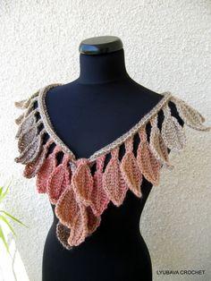 CROCHET SCARF PATTERN Autumn Leaves Fall Crochet by LyubavaCrochet
