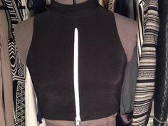 Cement Black 1990's Zipper Crop Top SZ Small by KristenAshleys on Etsy