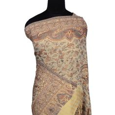 """Ibaexports Paisley Pashmina Wool Blend Shawl Stole Women Neck Shoulder Long Beige Wrap 80"""" x 28"""" Inches IBA. $33.99"""