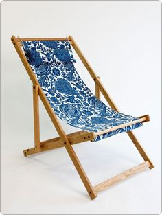 Handmade deck chairs for the garden, each with unique fabric Lawn Chairs, Outdoor Chairs, Outdoor Decor, Adirondack Chairs, Industrial Dining Chairs, Dining Table Chairs, Wicker Furniture, Outdoor Furniture, Heavy Duty Beach Chairs