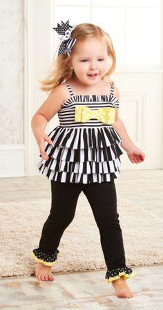 Mud Pie Striped Tunic & Legging Set-mud pie, spring 2013, striped tunic and leggings set, black, white