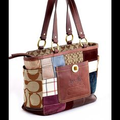 """COACH 11358 STAGECOACH patchwork tote The main focal point, as Coach intended it to be, is clearly the accent leather in the middle. It is a darker saddle leather pocketed rectangle, with an imposing embossed stagecoach. Front pocket with turn lock and two side pockets 4"""". Beautiful yet discreet brass eyelets Inside, is a navy blue gloss sateen lining with zippered pocket and two slip pouches. Minor wear, a few minuscule spots, but they get totally lost in the endless colored patchwork of…"""