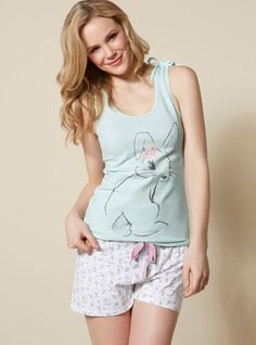 Glitter Bunny Vest And Shorts Pyjamas - Blue Mix | Boux Avenue