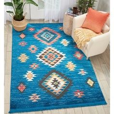 Nourison Tribal Decor Blue/Multicolor Aztec Rug - 5'3 x 7'6