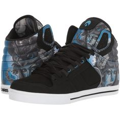Osiris Clone (Owl/Queen/Blue) Men's Skate Shoes ($53) ❤ liked on Polyvore featuring men's fashion, men's shoes, men's sneakers, mens high top sneakers, mens vegan shoes, mens hi tops, mens skate shoes and mens hi top shoes