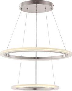Hängeleuchte/ Kronleuchter nickel matt, Acryl satiniert. Moderne Design Leuchte, die sich frei interpretierend an der Form von Kronleuchtern orientiert. Diese Variante Duo ist die mittelgroße aus der Reihe Circle.