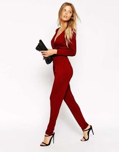 ASOS | Wrap Front Jumpsuit With Long Sleeves #asos #jumpsuit