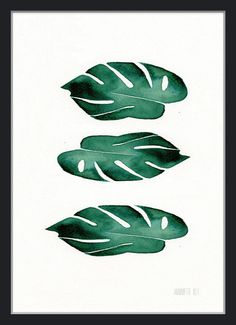 Modern minimalist botanical set of 3 art prints 3 by TheClayPlay