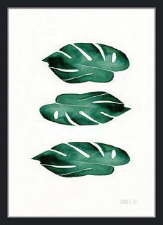 Modern minimalist botanical set of 3 art prints 3 by TheClayPlay