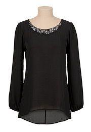 Jeweled Neck Cross Back Chiffon Blouse - maurices.com