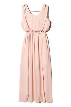 ROMWE | Cut-out Pink Maxi Dress, The Latest Street Fashion #ROMWE