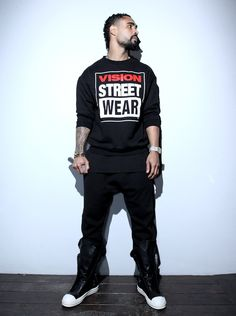 Jerry Lorenzo with Rick owens S/S 2012 foldover tongue sneakers. I like this dude's style.