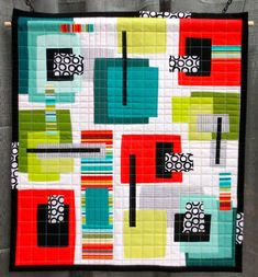 Ode to Paul Klee, made and machine quilted by Serena Brooks (QuiltCon 2013, category: Modern in Miniature Challenge)
