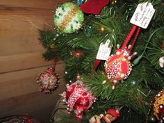 Vintage beaded ornaments.
