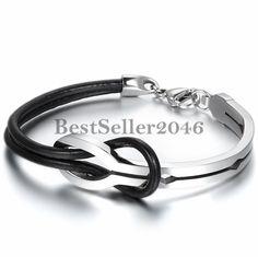 Damen Herren Armband Armkette Infinity Armreif Edelstahl Leder Silber Schwarz