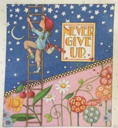 Handmade Fridge Magnet-Mary Engelbreit Artwork-Never Give Up