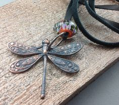 Copper Plate Dragonfly with Lampwork by GlassbyTammyRae on Etsy, $36.00