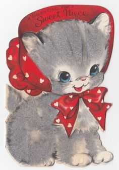 Vintage Greeting Card Valentine Cute 1940s Flocked Die-Cut Hallmark 1940s j990