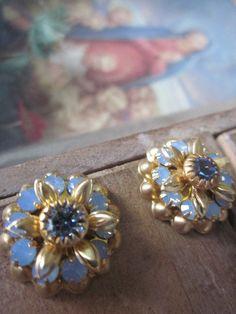 Vintage Swarovski Blue Opal  Crystal Flowers by WhoKnowsWhat