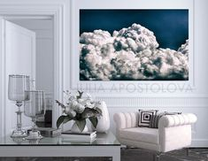 Blue Cloud Art, Cloud Painting Navy Blue Wall Art, Extra Large Cloud Print Art, Cloudscape Abstract Oil Painting for Trending Decor by Julia Navy Blue Wall Art, Navy Blue Walls, Blue Painting, Oil Painting Abstract, Cosy Home Decor, Cloud Art, Blue Clouds, Blue Canvas, Large Wall Art