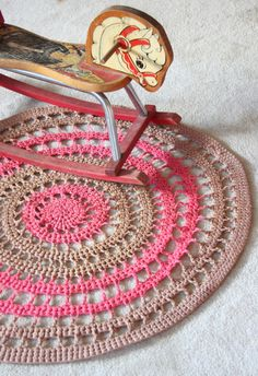Crochet Doily Round Rug, Brown/Pink, Lace, Nursery Rug, Floor Rug, Decorative Rug, Cottage Chic, Shabby, Bohemian, Granny Chic $54.00 on Etsy
