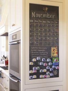 chalkboard wall in kitchen, not a big chalkboard wall, but like this big big calendar