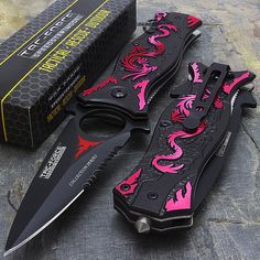 This Tac Force spring assisted folding knife is the perfect tool to carry around in your pocket. Featuring a sharp and durable stainless steel blade, this knife will get the job done. Pretty Knives, Cool Knives, Ninja Weapons, Weapons Guns, Airsoft Guns, Swords And Daggers, Knives And Swords, Erza Scarlet, Knife Aesthetic