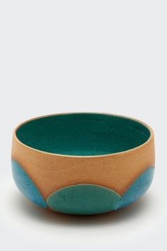 Large Terra-Cotta and Turquoise Bowl by Natan Moss | Lawson Fenning