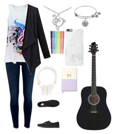 """""""music lover"""" by meen16 ❤ liked on Polyvore featuring River Island, NOVICA, Vans, Native Union, Marshall, Kate Spade and cutekawaii"""