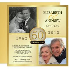 Custom Golden Wedding Anniversary Photo Invitations created by th_party_invitations. This invitation design is available on many paper types and is completely custom printed. 50th Wedding Anniversary Invitations, Wedding Anniversary Photos, Anniversary Surprise, Photo Wedding Invitations, Golden Anniversary, Anniversary Ideas, 50th Anniversary Parties, Anniversary Cards, Surprise Party Invitations