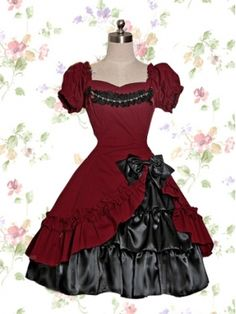 Puff Sleeves Dark Gothic Lolita Dress Dsc79stylehive | Women Dress ...