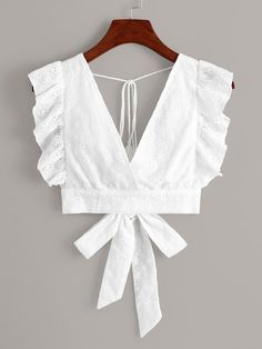 Womens Fashion - White Eyelet Embroidery Ruffle Cuff Tie Back Blouse Crop Top Outfits, Mode Outfits, Casual Outfits, Outfits Jeans, Girly Outfits, Fancy Blouse Designs, Saree Blouse Designs, Diy Clothes, Clothes For Women