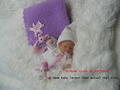OOAK Miniature Baby Girl Dressed Tiny for 1 12th Dolls House Nursery |❤❤❤