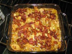 Ingredients (to serve 4): 2 large chicken breasts 1 medium Vidalia onion (Sweet)  5 slices bacon