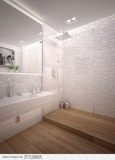 White walls, mixing textured and smooth tiles, with mid-tone warm wooden floor tiles Ensuite Bathrooms, Attic Bathroom, Diy Bathroom Remodel, Shower Remodel, Bathroom Renos, Bathroom Interior, Downstairs Bathroom, Contemporary Bathrooms, Modern Bathroom Design