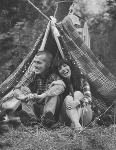 Black and white, camping-inspired photo. Beautiful young married couple (including a guy with tattoos!) Perfect photo shoot!