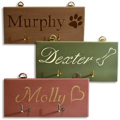 Dog lead hooks UK handmade and hand painted. Perfect for organising your dog's leads, collars and other dog walking bits and bobs. Personalised with your dog(s) name.