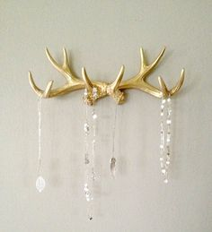 Faux Deer Antler Rack Gold Jewelry Holder Scarf Holder by LucyHaus, $45.50