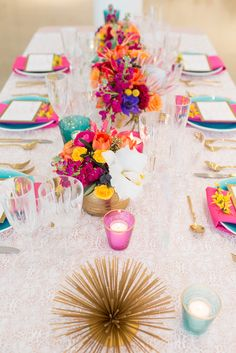 Rainbow florals, gold, delicate lace and a gilded urchin makes one lively table! Florals: Hello Darling Venue: Chez Photo: Elle Rose Photo Linens: Windy City Linen Planner: Cheers! Chicago